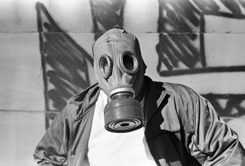 gas mask under 6th st bridge